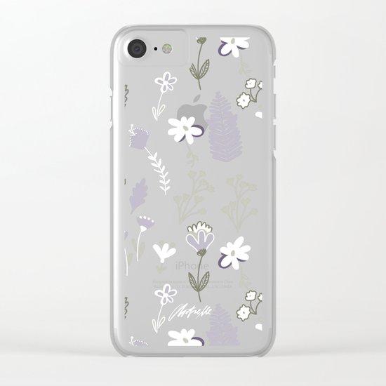 Dark Pastel Violet Flower Pattern Clear iPhone Case