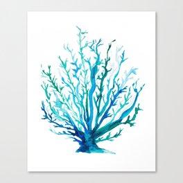 Watercolor Blue + Green Coral Canvas Print