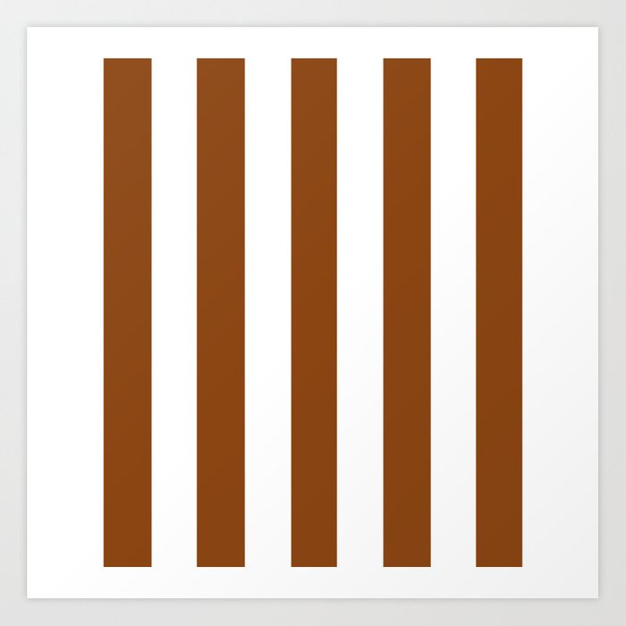 Saddle Brown Solid Color White Vertical Lines Pattern Art Print By Makeitcolorful