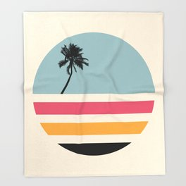 Retro Sunset 01 Throw Blanket