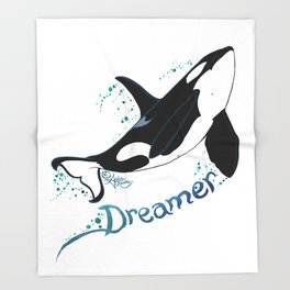 Dreamer Orca (Amber Marine, Indie Wildlife Artist Official Logo, Copyright 2015) Killer Whale Art Throw Blanket