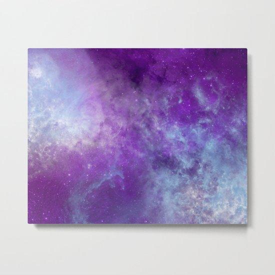 Purple Cloud Nebula Watercolor Universe Metal Print