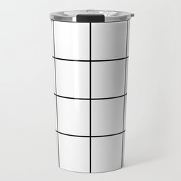 black grid on white background Travel Mug
