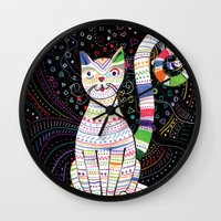 space cat Wall Clocks featuring Space cat by ezgi karaata