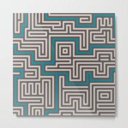 Meandering round lines cream & teal Metal Print