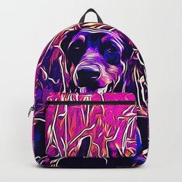 doberman dog red flowers meadow vector art purple Backpack