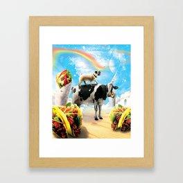 Space Pug Riding Cow Unicorn - Taco & Burrito Framed Art Print