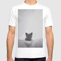 Kitten under the sheets MEDIUM White Mens Fitted Tee