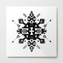 Tribal Black and White Metal Print