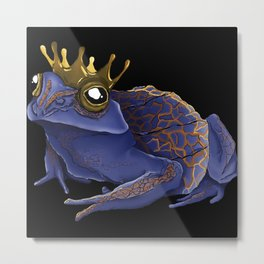 Psychedelic Blue Frog Metal Print