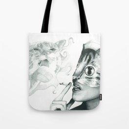 Crystal Castles Cat drawing Tote Bag