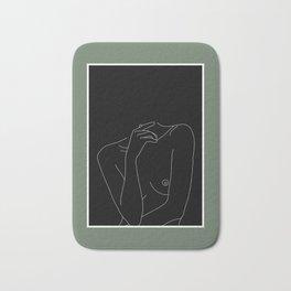 Nude figure line drawing illustration - Cecily Green Border Bath Mat