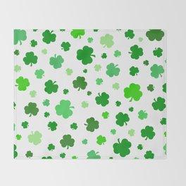 Green Shamrock Pattern Throw Blanket