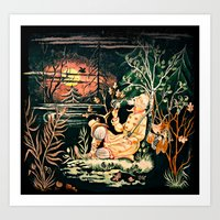 hunting Art Prints featuring hunting by KrisLeov