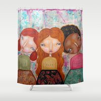 best friends Shower Curtains featuring Best friends by Moki