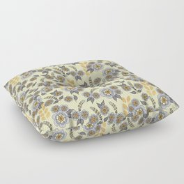 Golden floral with silver on beige Floor Pillow