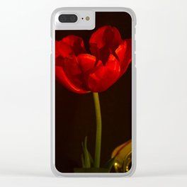 Red Tulip Antique Look Clear iPhone Case