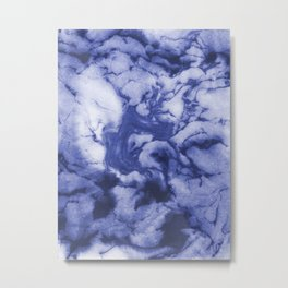 Asahi - spilled ink indigo blue water waves ocean topography map maps painting marble swirl blue Metal Print