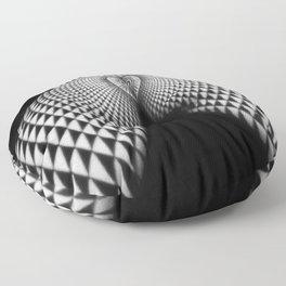 0364-JAL Nude Geometric Erotica Black & White Naked Woman Behind Below Bum Butt Ass Floor Pillow