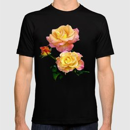 Daybreak roses on black T-shirt