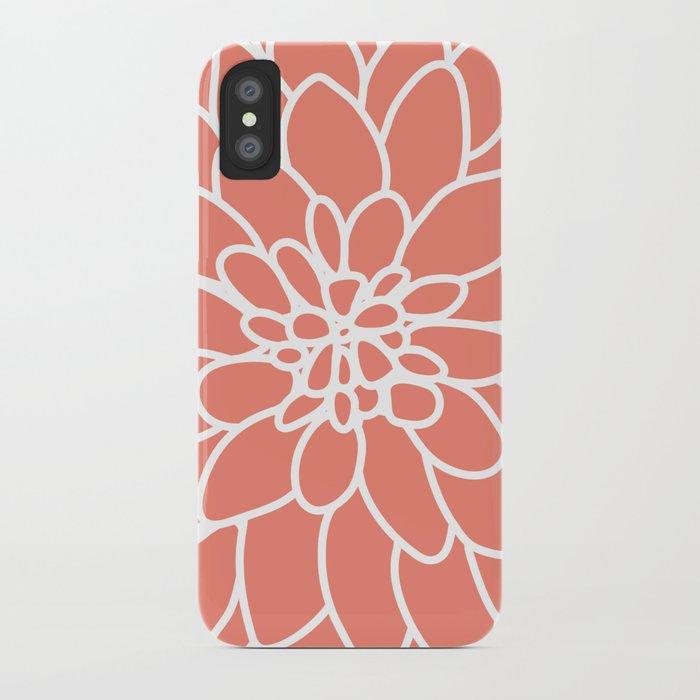 Coral Modern Dahlia Flower iPhone Case