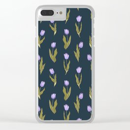 Violet Tulips Floral Pattern (navy/teal theme) Clear iPhone Case