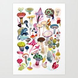 Mushroom Collection - b r i g h t s Art Print