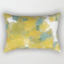 Yellow Flowers with Blue Crosshatch 2 Rectangular Pillow