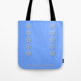 Five Unique Snowflakes in a Row on Sky Blue Background Tote Bag