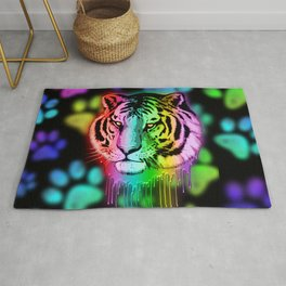 Tiger Neon Dripping Rainbow Colors Rug