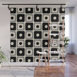 Mid Century Modern Square Dot Pattern 771 Black and Gray Wall Mural