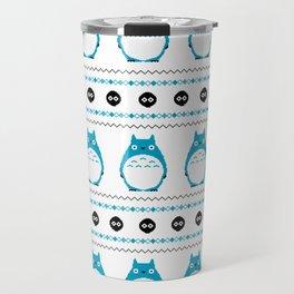 Ghibli Winter Pattern - Blue Travel Mug