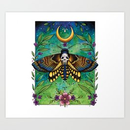 Neo Traditional Deaths-head moth Art Print