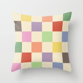 Colorful Checkered Pattern Throw Pillow