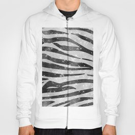 Glamorous Black White Sparkly Glitter Zebra Stripe Hoody