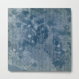 White stripes on grunge textured blue background Metal Print