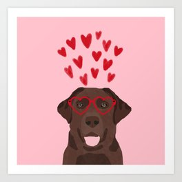 Chocolate Lab love heart glasses cute pet gifts valentines day labrador retriever Art Print