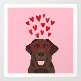 Chocolate Lab love heart glasses cute pet gifts valentines day labrador retriever Art Print