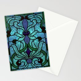 Aqua Green and Blue Art Nouveau Stained Glass Design Stationery Cards