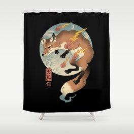 Fire Fox Ukiyo-e Shower Curtain