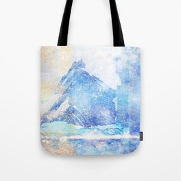 Blue Ice Mountains :: Fine Art Collage Tote Bag