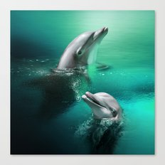 Dancing Dolphins Canvas Print