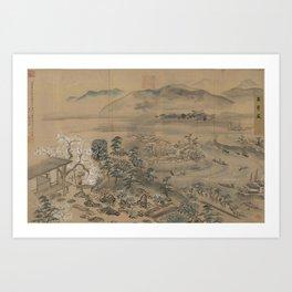 A garden picture in Osaka East in Japan. Ukiyoe Landscape Art Print