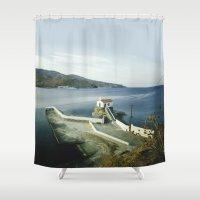 greek Shower Curtains featuring Greek landscape by MarioGuti