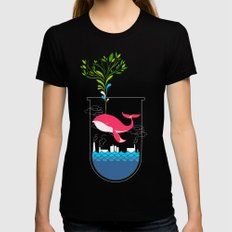 Nature Whale Black Womens Fitted Tee MEDIUM