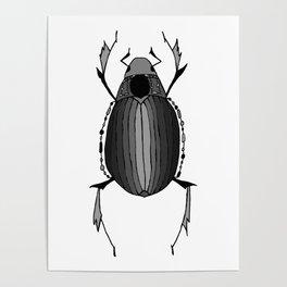 Egyptian Scarab Beetle Gray Black Poster