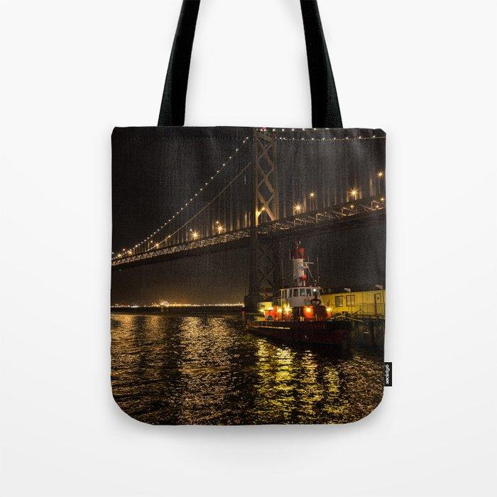 Bay Bridge Fire Boat at Night Tote Bag