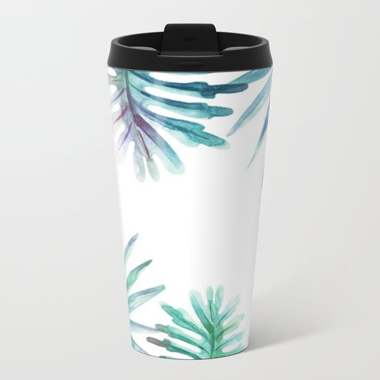 Watercolor botanical leaves Metal Travel Mug