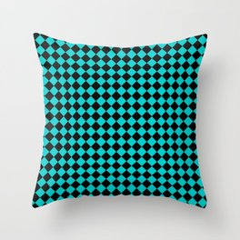 Black and Cyan Diamonds Throw Pillow