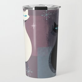 Jazzy Midcentury Modern Black And White Abstract Cats Travel Mug